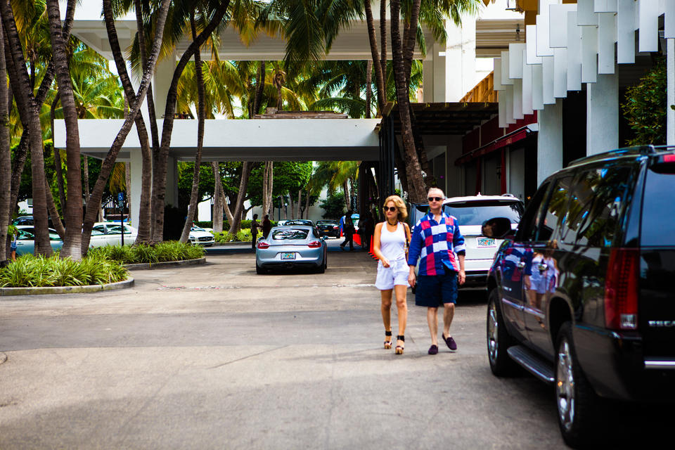Couple Walking At Bal Harbour Shops