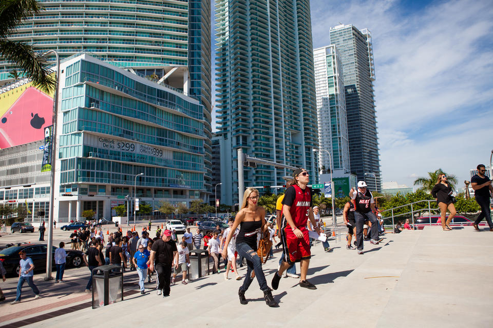 People Walking To Arena